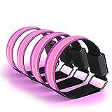 Kelisidunaec 4 pulseras LED recargables, bandas luminosas, bandas reflectantes, luz de seguridad para la noche, actividades al aire libre, correr, color rosa