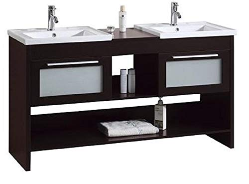 Modern Freestanding Espresso Double Bathroom Vanity Sink Set | His and Her Farmhouse Vanity and Sink Combo with Extra Storage Shelves and Drawers | 60 Inches