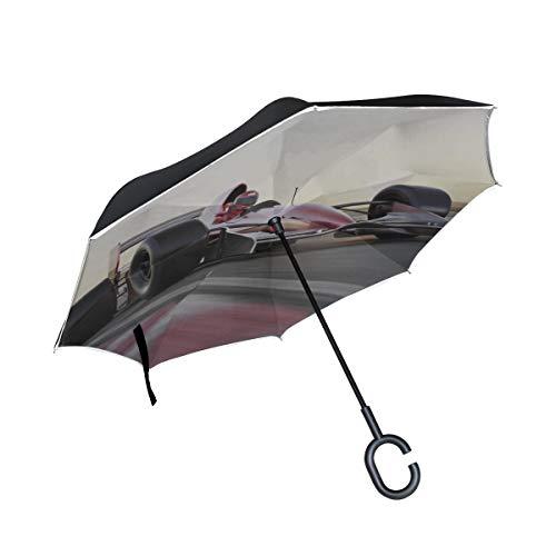 Paraguas invertido de Doble Capa Invertido Paraguas Compacto Coche de Carreras En la Pista de Autos de Carrera Paraguas Abierto inverso Paraguas Grande invertido Protección contra el Viento a Prueba
