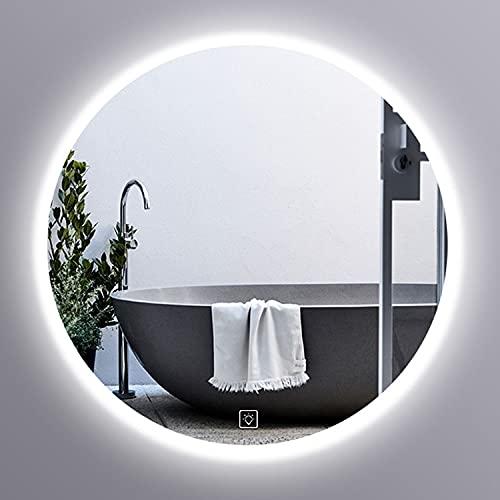 GETZ Espejo de Baño con Iluminación LED, Iluminada Espejo de Tocador, con Interruptor Táctil de Iluminación, Luz Blanca/Cálida