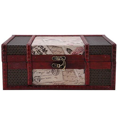 Vintage con Tapa Estuche de Almacenamiento de Joyas Caja de Almacenamiento de joyería de Madera Elegante para Mujeres Regalo Decoración Baratijas de Almacenamiento(Stamp)