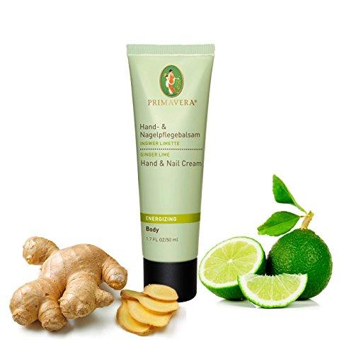 Primavera Hand- und Nagelcremes 50ml - 100% naturreine ätherische Öle, Pflegeprodukt:Balsam Ingwer Limette