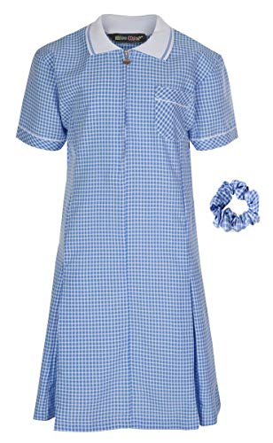 Miss Chief - Girl's School Uniform Pleated Gingham Summer Dress + Hair Bobble Age 3 4 5 6 7 8 9 10 11 12 13 14 15 16 17 18 20 Sky Blue