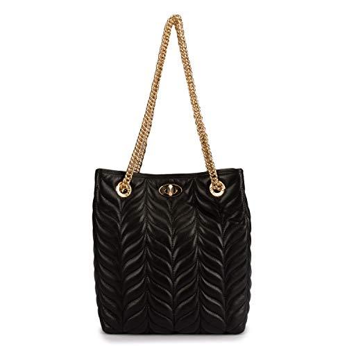 Da Milano Genuine Leather Black Quilting Women Handbag