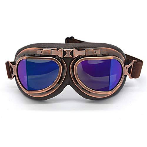 CZX Borde de la Motocicleta de los anteojos Segunda Guerra Mundial Retro Gafas universales de Plata piloto del Motorista Ciclismo Gafas de Sol Gafas Racer Bici del hoyo,B