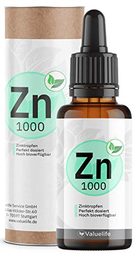 Triple Ionic Zink I Zinktropfen ionisiert I Einzigartige Bioverfügbarkeit mit Zinkgluconat, Zinkbisglycinat & Zinkascorbat I 1000 Tropfen für 100 Tage I 50ml von VALUELIFE