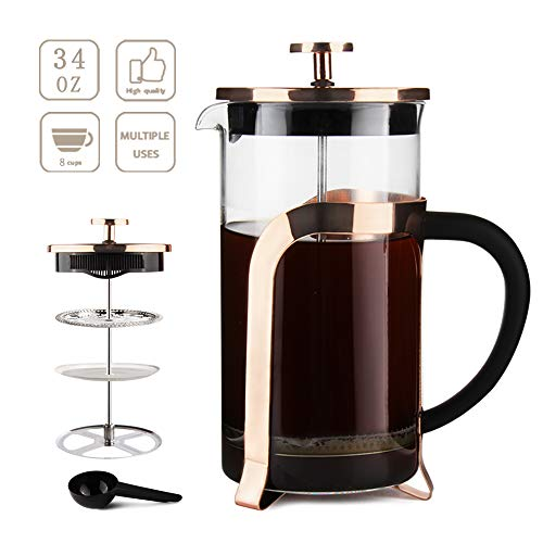 French Press Coffee Maker 34OZ by Sivaphe RoseGold Double-Wall Borosilicate Glass Tea Pot with Stainless-Steel Filter 1000ml (Best Way To Press A Rose)