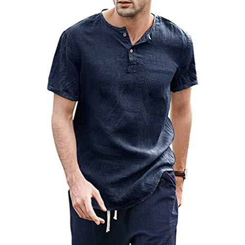 Dasongff Leinenshirt Herren Tshirts Sommer Baggy Baumwolle Leinen Einfarbig Kurzarm T Shirts Tops Mode Freizeit Hemden (Marine-A, M)