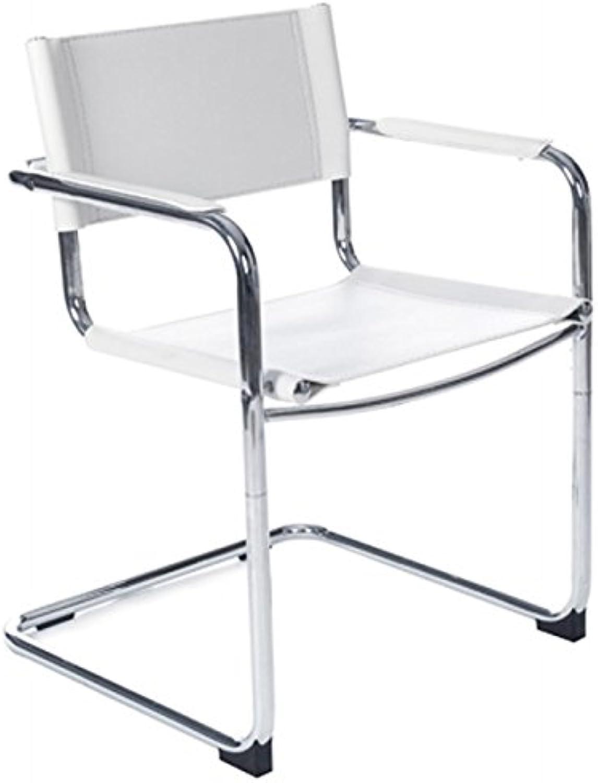 MK Tahiti Design Stuhl langlebig Kunstleder und verchromtes Metall (wei)