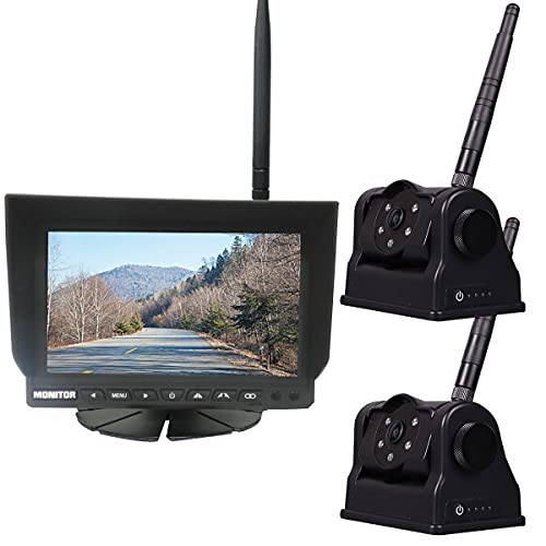 """Wireless Hitch Camera Magnetic with 7"""" IPS Monitor - Dual HD 720P Camera Built-in Rechargeable Long Life Battery Powered Backup Rear View Portable for Hooking Horse Trailer/Rv/5th Wheels/Boats Idpoo"""