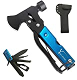 Yuztousp Multitool Camping Accessories Survival Gear and Equipment Blue- 14 in 1 Stainless Steel Outdoor Camping Gear Gifts for Men Dad Hunting Tools Hiking Multitool Axe Hammer