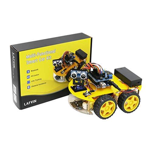 HARTI Intelligenter Roboter-Auto-Kit Mit Tutorial Für UNO R3, Bluetooth-Tracking-Hindernisvermeidung Mit LCD-Display, Ultraschallmodul-Auto-Montagesatz Für Arduino