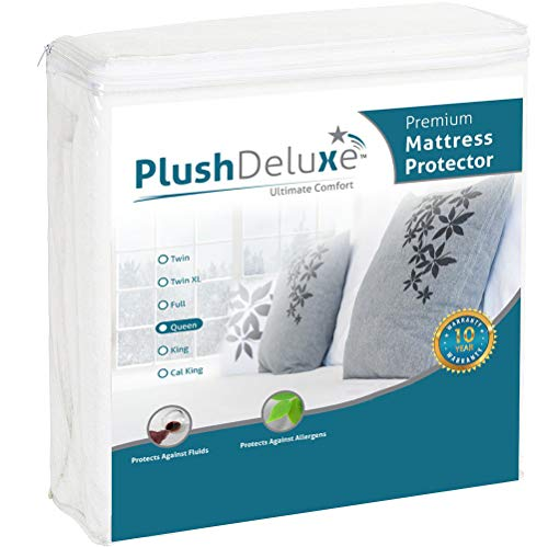 PlushDeluxe Premium Mattress Protector, Waterproof & Hypoallergenic Mattress Cover, Breathable & Vinyl Free Soft Cotton Terry Surface, Queen, 10-Year Warranty