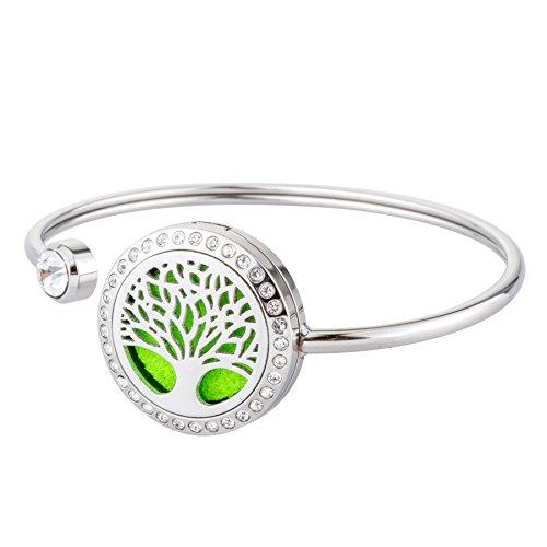 JOYMIAO Essential Oil Diffuser Bracelet - Stainless Steel Aromatherapy Locket Bracelets - Girls Women Jewelry Gift Set & 8 Pads