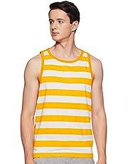 WOKNIT Men's Striped Slim Fit Cotton Vest (Gold)