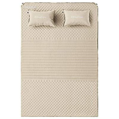 KingCamp Triple Zone Comfort Double Self Inflating 75D Micro Brushed Sleeping Pad Mattress with 2 Pillows (Beige)