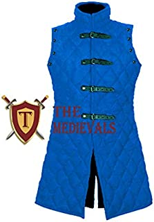 Medieval Gambeson 加厚外套阿卡顿夹克护甲 - 蓝色棉面料