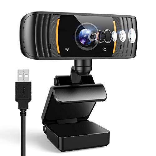 Webcam 2K mit Mikrofon, 1440P Full HD PC Web Kamera mit Belichtungskorrektur, 110° Blickfeld, USB 2.0 Plug and Play für Videoanrufe, Studieren und Konferenzen, Windows, Mac und Android (Orange)
