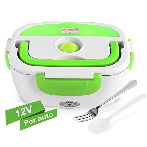 YISSVIC Scaldavivande Elettrico per Auto in Acciaio Inox 1,5L Portatile con Forchetta e Cucchiaio Vaschetta Estraibile per Auto