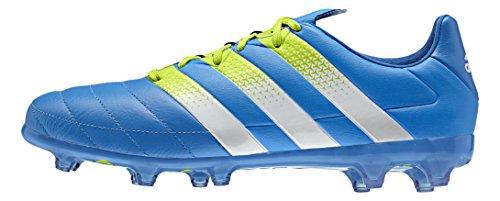 adidas Ace 16.2 FG/AG Leather, Botas de fútbol para Hombre, Azul/Blanco/Verde (Azuimp/Ftwbla/Seliso), 42 EU