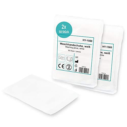 Hypafol Einmal-Waschhandschuhe 100 Stk. (2x50) I Einmalwaschlappen für Babys & Erwachsene I hautverträgliche & weiche Einwegwaschlappen aus reißfestem Vliesstoff zur Körper- & Intimpflege I 15x23cm