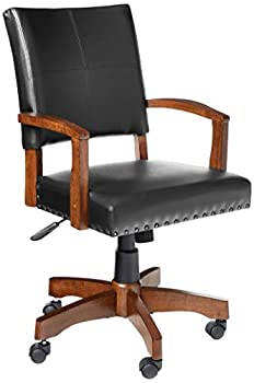 OSP Home Furnishings Deluxe Wood Bankers Desk Chair with Faux Leather and Antique Bronze Nailheads Black