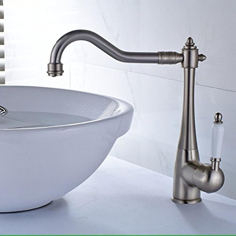 MGADERO Wasserhahn Bad Badarmatur Waschtischarmatur Armatur Messing gebürstet mit einem Hebel 1 Bohrung Heies und Kaltes Wasser der Einhebelsteuerung Mischbatterie