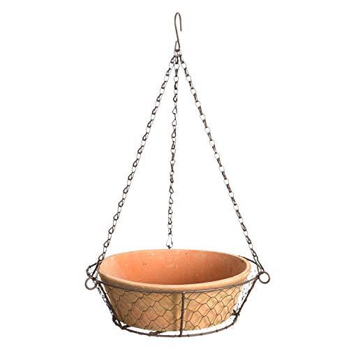 Esschert Design at Schale in hängendem Drahtkorb Blumenampel Terracotta Garten Deko Pflanze Vase