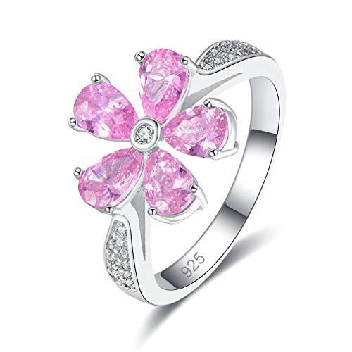 YAZILIND Flor Forma Elegante cúbica Zirconia Anillo de Boda Anillo de Compromiso 925 Plata esterlina Amante Regalo Rosa(16,5)