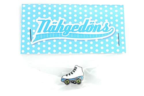 Nähgedöns.de Pin Rollschuh Roller Skate | Weiß Hellblau | Brosche | Anstecknadel | Anstecker