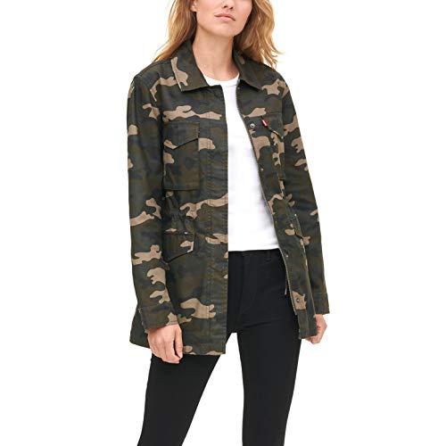 Womens Military Cotton Midlength Dark Olive Camo Jacket
