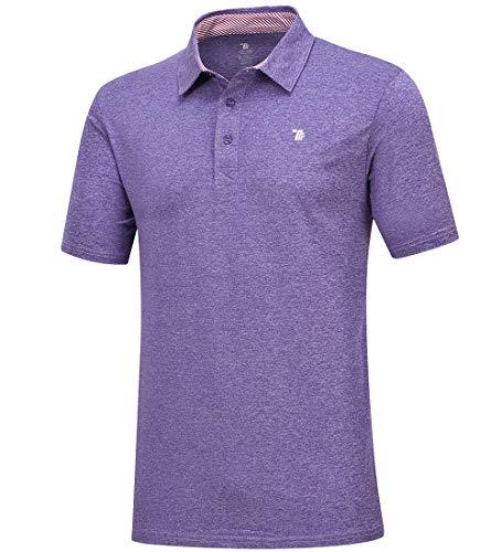 donhobo Herren Poloshirt Kurzarmshirt Performance Polohemd Regular-fit Quick-Dry Golf Polo Shirts (Lila, XL)