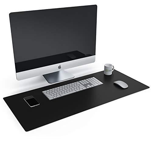CSL Tischunterlage Schreibtischunterlage 90 x 40cm - Premium PU-Leder Schreibunterlage - zusätzliche Anti Rutsch Beschichtung - wasserdicht - auch als Mauspad - für Büro u Zuhause 900x400 mm Schwarz