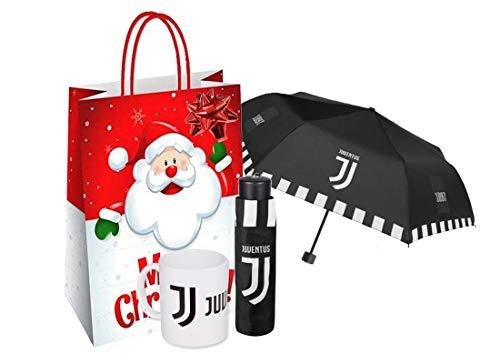 perletti Set Idea Regalo Juventus (Ombrello Mini + Tazza + Shopper + coccarda) Natale