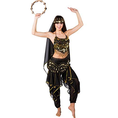 Amakando Costume da Donna 1001 Notte - Nero | Costume da danzatrice del Ventre | Travestimento Orientale Bollywood | Danza del Ventre Vestito