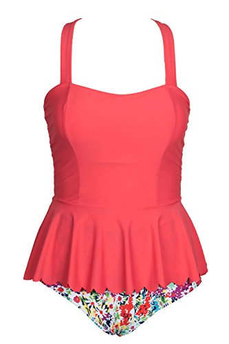 CUPSHE Women's Coral Falbala High Waisted Cup Shaped Padding Bikini Set