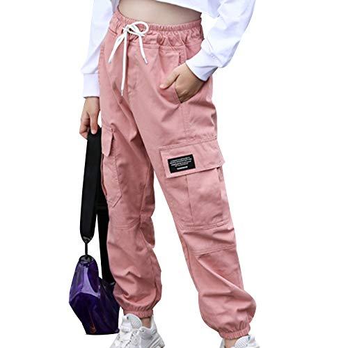inhzoy Kinder Mädchen Cargohose Kordelzug Jogginghose Sporthose Jogger Trainingshose Mit Taschen Hip Hop Tanz Streetwear Freizeit Loungehose Rosa 146-152