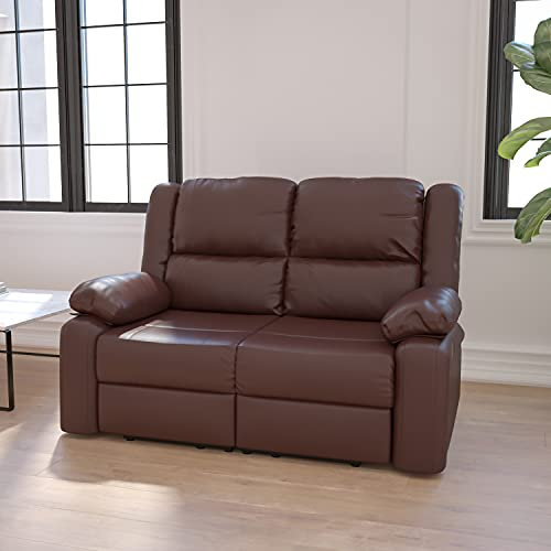 Flash Furniture Harmony Series Brown LeatherSoft Loveseat with Two Built-In Recliners
