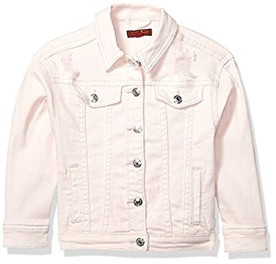 7 For All Mankind Girls' Little Sized Denim Jacket, Destructed Pearl, 6