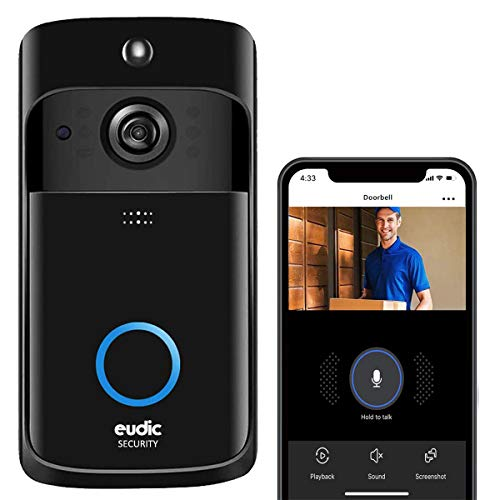 Video Doorbell Wireless WiFi Doorbell Camera IP5 Waterproof HD WiFi Security Camera Real-Time Video for iOS & Android Phone Night Light