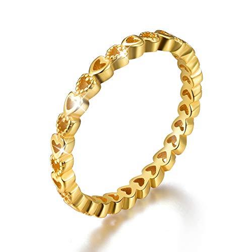 ✦Regalos para el día de la madre✦Anillo de eternidad de plata de ley 925 chapado en oro de 18 quilates con circonita cúbica apilable para mujeres y niñas