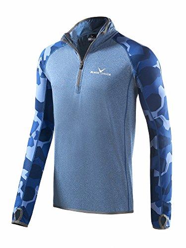 Black Embout Crevice Homme Fermeture Éclair T-Shirt Second Couche, Bleu Marine, XL