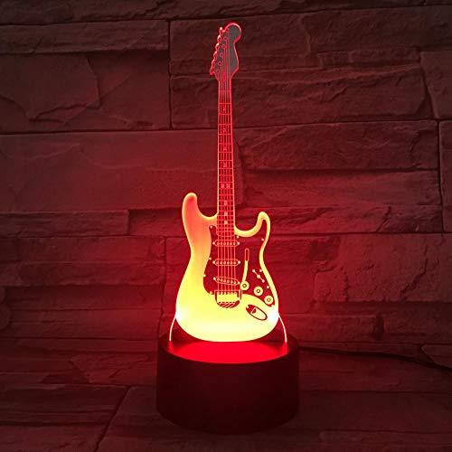 Nur 1 Stück Tischlampe Nacht Bass Gitarre Mehrfarbig Jungen Kind Kinder Baby Geschenke Musikinstrument Atmosphäre USB 3d Led Nachtlicht