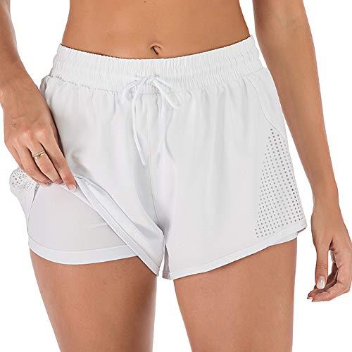 iClosam Pantaloncini Sportivi da Donna Pantaloncini da Corsa 2 in 1 Pantaloni Jogging da Allenamento Traspiranti ad Asciugatura Rapida S-XL