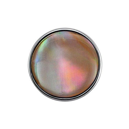 Preisvergleich Produktbild Quiges Damen Click Button 18mm Chunk Weiße Kunstperle Versilbert für Druckknopf Zubehör