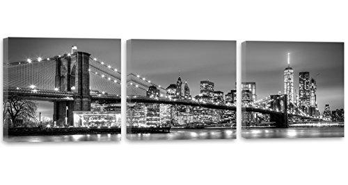 Feeby Frames, Cuadro en lienzo - 3 partes - Panorámico, Cuadros impresión 180x60 cm, BLANCO, NUEVA YORK CIUDAD, AGUA,ARQUITECTURA, VISTA,BROOKLYN