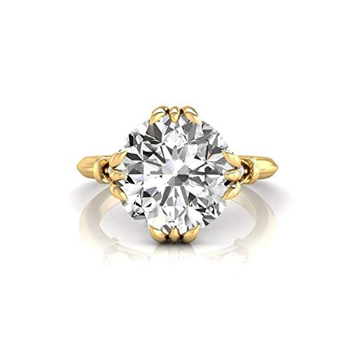 Diamondrensu Old European Cut Vintage Engagement Ring, 2.97 CTW Round OEC Colorless Moissanite Wedding Ring for Women, Unique Heritage Ring, 14K Yellow Gold, Ring Size 3.75 US