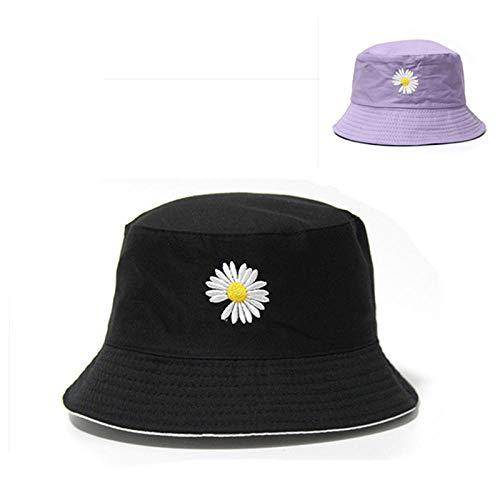 XCWXM Herren und Frauen Baumwolle Strand Hut Reversible Blumenmuster Panama Fischer Hut-schwarz Purplr 038_Adlut (56-58cm)