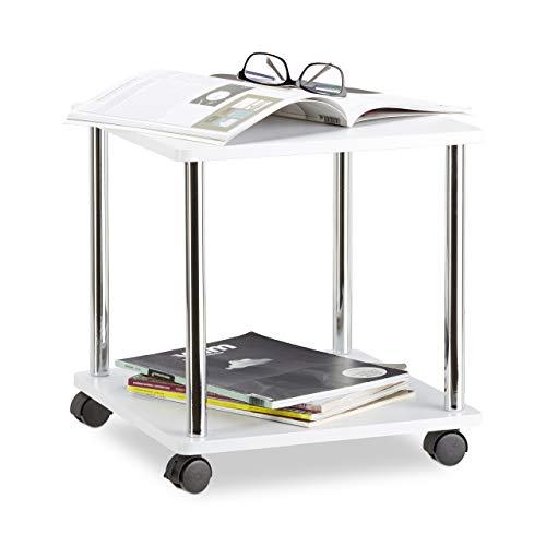 'Relaxdays 10021870_187 Tavolino da Salotto Legno Carrello con Ruote Multiuso Piccolo Tavolo Divano Carrellino HLP 41,5x40x40 cm Bianco '
