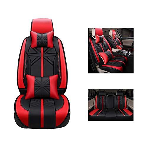 ZGYQGOO Autositzkissen, New Rice Flag Pu-Leder-Sitzbezug, Vollverkleidetes Sitzkissen, Geeignet für Fünfsitzer, Rot